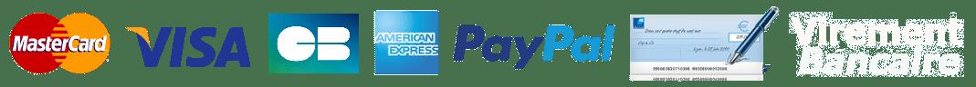 Paiement sécurisé CB, VISA, MasterCard, American Express, PayPal, virement bancaire, chèque